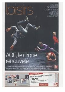 AOC, le cirque renouvelé - Sud-Ouest Dimanche - 9.03.14